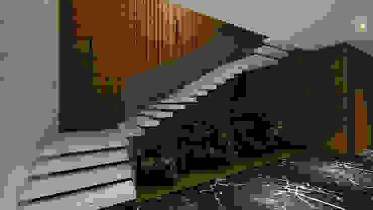 ESCADA DE ACESSO AO 1º PAVIMENTO (SALAS DE CONVENÇÃO | SALAS DE ORAÇÃO | SALAS DE REUNIÃO) Arquitetura Sônia Beltrão & associados Hotéis modernos Mármore Branco