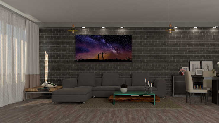 EFFC diseño y arquitectura Modern living room Bricks Grey