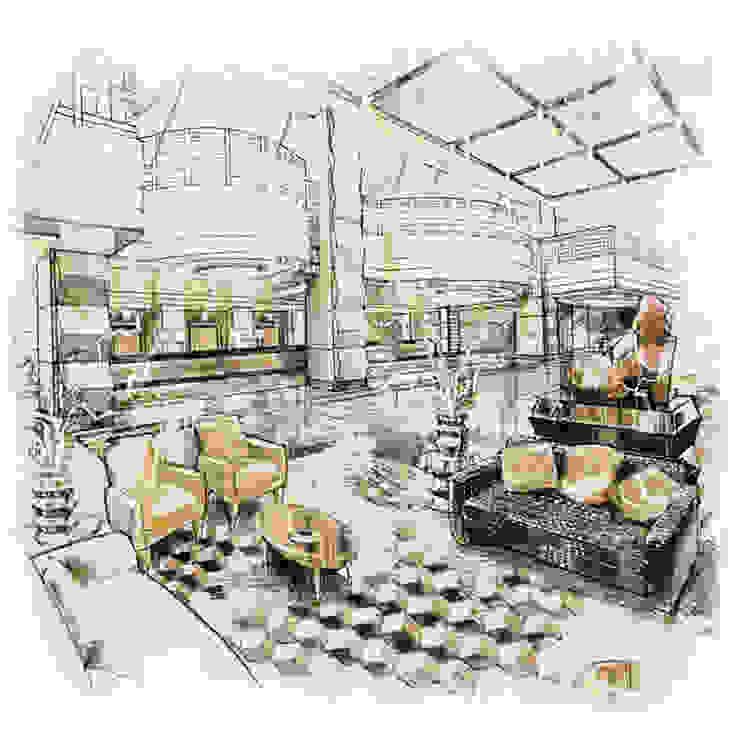 Lobby Modern hotels by John Chan Design Ltd Modern