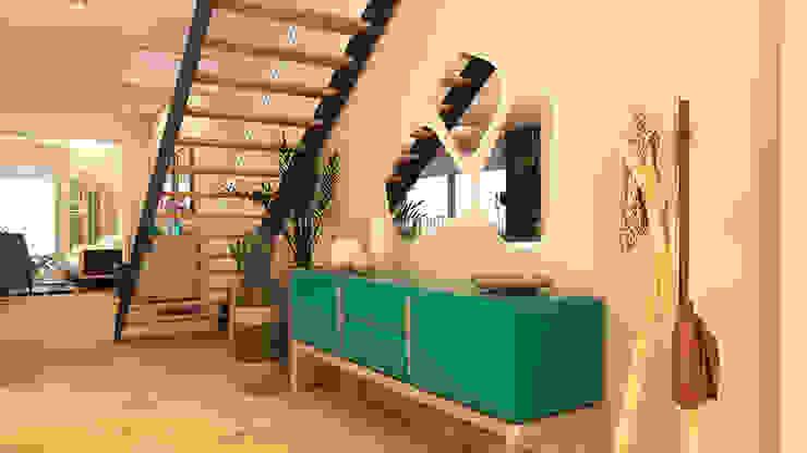 Modern Corridor, Hallway and Staircase by crearteinteriors Modern