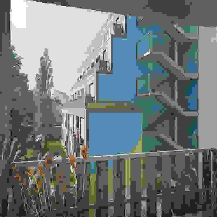 Blick auf Gartenhaus vom Vorderhaus IFUB* Mehrfamilienhaus