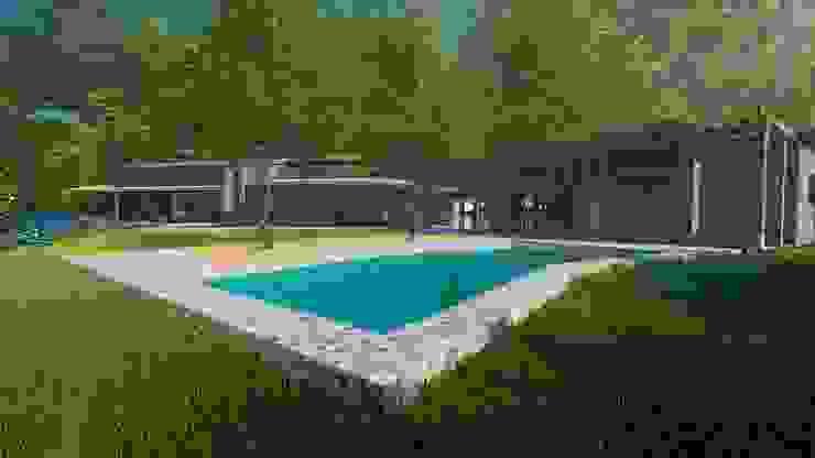 Piscina, Jardín, quincho. de MS Arquitectos Rústico