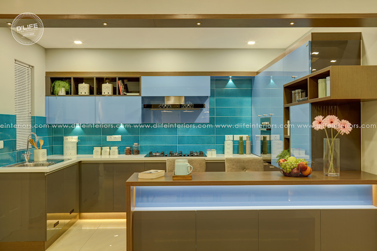 Modular Kitchen with Blue Finish DLIFE Home Interiors Kitchen units