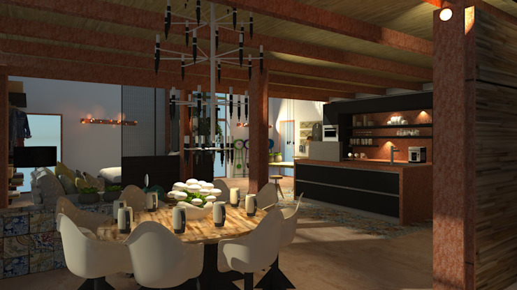 ROSA CARBONE DESIGN Industrial style dining room Wood Wood effect