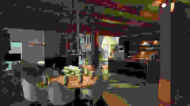 loft ROSA CARBONE DESIGN Sala da pranzo in stile industriale Legno Effetto legno