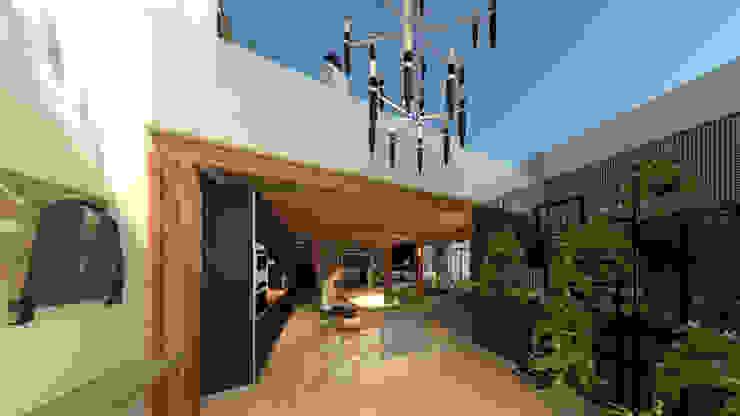 loft piano terra ROSA CARBONE DESIGN Ingresso, Corridoio & Scale in stile moderno Legno Marrone