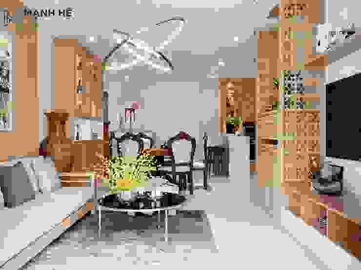 Thiết kế phòng khách liền bếp - tạo sự xuyên suốt cho chung cư thêm thoáng đãng bởi Công ty TNHH Nội Thất Mạnh Hệ Hiện đại