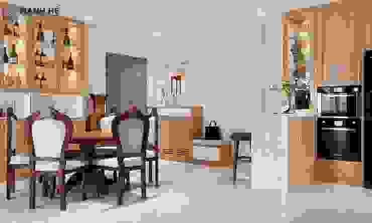 Kệ tủ rượu trang trí bằng gỗ Sồi, nâng tầm giá trị của bộ sưu tập rượu Phòng ăn phong cách hiện đại bởi Công ty TNHH Nội Thất Mạnh Hệ Hiện đại