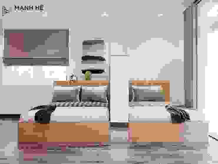 Đường nét của chiếc giường đơn giản, vuông vức nhưng vẫn toát lên vẻ đẹp nhã nhặn bởi Công ty TNHH Nội Thất Mạnh Hệ Hiện đại