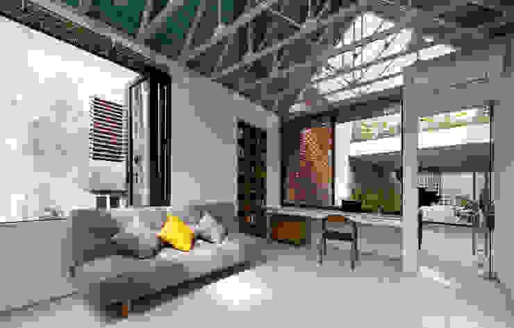 Nhà CHỒNG MÁI Phòng học/văn phòng phong cách nhiệt đới bởi AD+ Nhiệt đới
