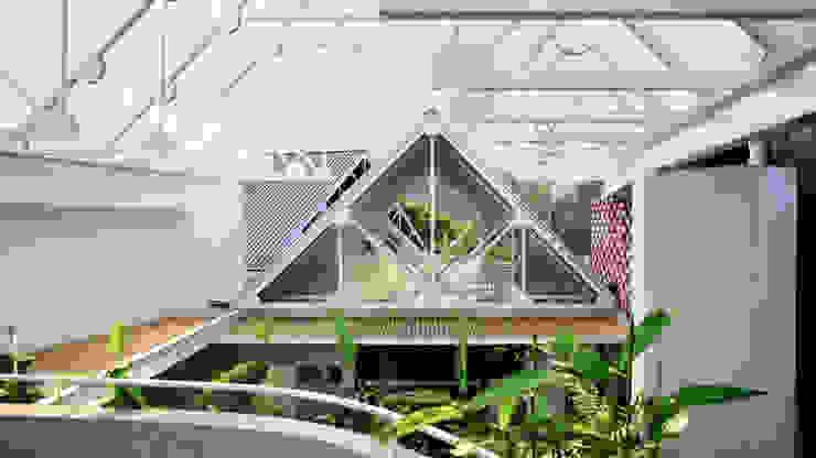 Nhà CHỒNG MÁI Hiên, sân thượng phong cách nhiệt đới bởi AD+ Nhiệt đới