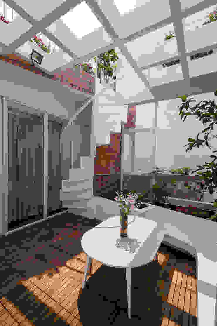 SILK house Hiên, sân thượng phong cách nhiệt đới bởi AD+ Nhiệt đới
