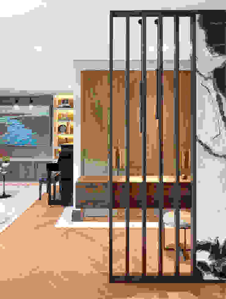 entrance Esra Kazmirci Mimarlik Modern living room Stone Grey