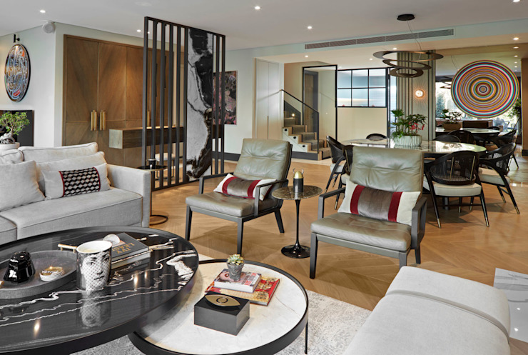 LIVING ROOM Esra Kazmirci Mimarlik Modern living room Stone Grey