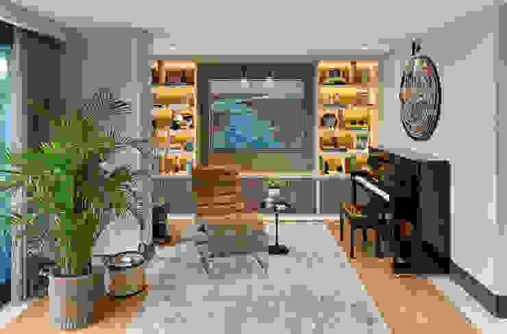 LIVING ROOM Esra Kazmirci Mimarlik Modern living room Wood Grey