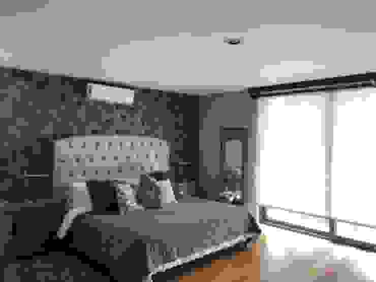 PAPEL TAPIZ PISO Y PERSIANA EN HABITACIÓN HM HOME SUPPLIES Dormitorios modernos Gris