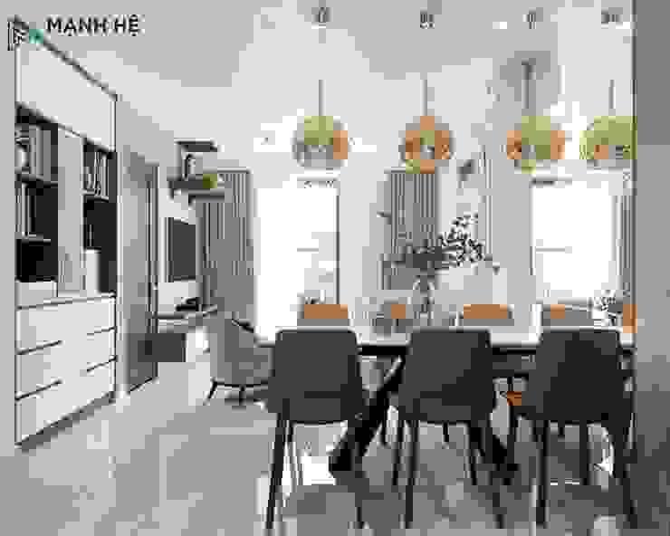 Phòng khách liền bếp hiện đại Công ty TNHH Nội Thất Mạnh Hệ KitchenAccessories & textiles Đồng / Đồng / Đồng thau White