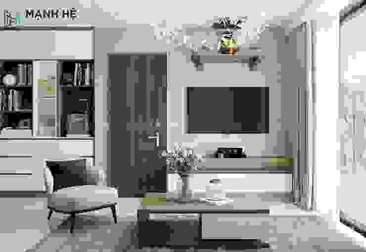 Không gian phòng khách hiện đại Công ty TNHH Nội Thất Mạnh Hệ Living roomAccessories & decoration Đá vôi White