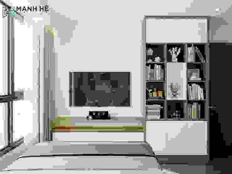 Kệ tủ tivi trong phòng ngủ: hiện đại  by Công ty TNHH Nội Thất Mạnh Hệ, Hiện đại Gạch ốp lát