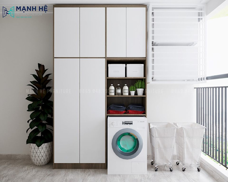 Không gian giặt đồ hiện đại: hiện đại  by Công ty TNHH Nội Thất Mạnh Hệ, Hiện đại Dệt may Amber/Gold