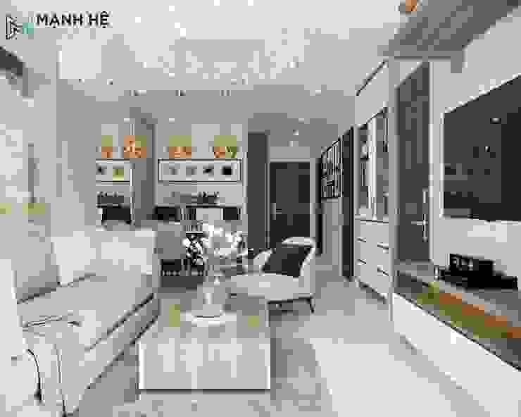 Không gian phòng khách liền bếp hiện đại Công ty TNHH Nội Thất Mạnh Hệ Balconies, verandas & terraces Lighting Bê tông Black