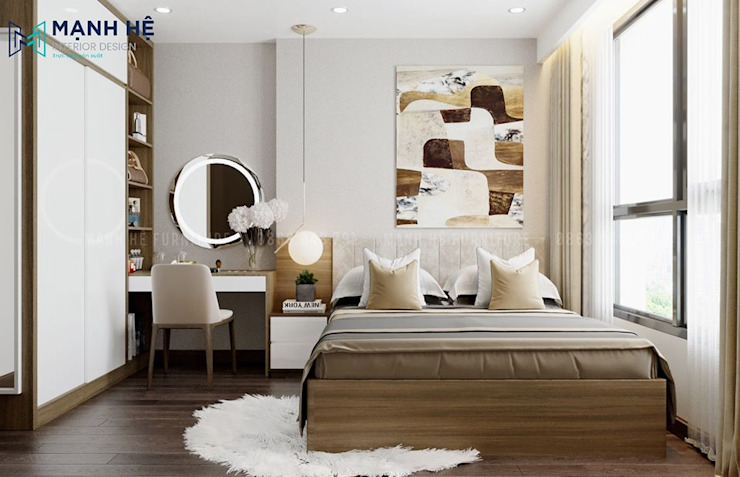 Phòng ngủ Master hiện đại Công ty TNHH Nội Thất Mạnh Hệ BedroomBeds & headboards