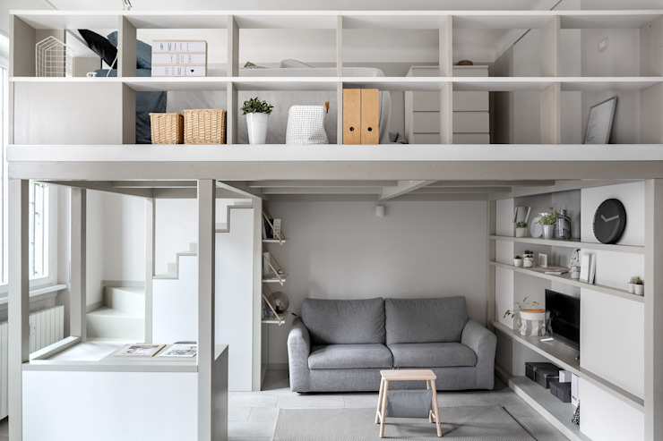Living little, loft 38 mq, Milano Soggiorno in stile scandinavo di Lascia la Scia S.n.c. Scandinavo Legno Effetto legno
