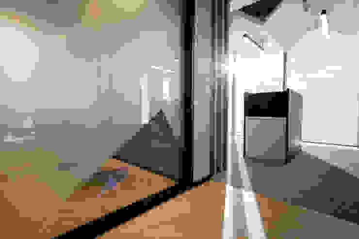 entrearquitectosestudio Modern corridor, hallway & stairs Plywood Wood effect