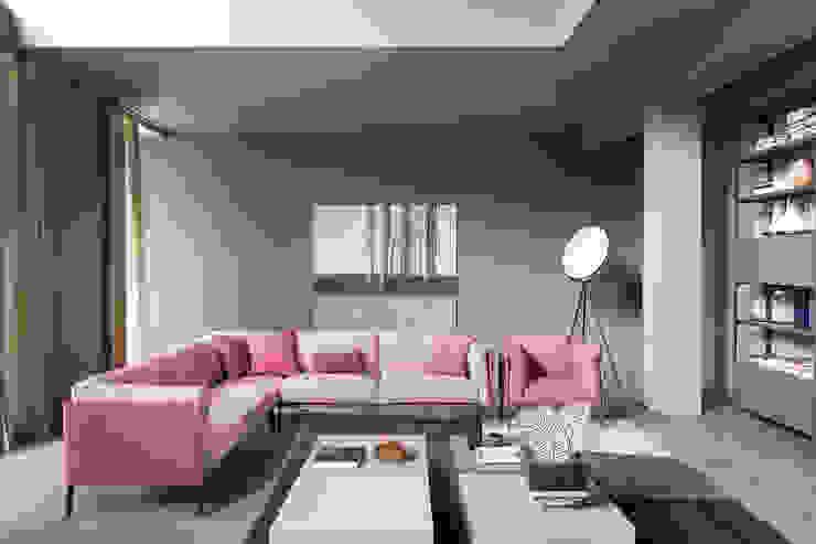 Divano 4 L&M design di Marelli Cinzia Soggiorno moderno Rosa