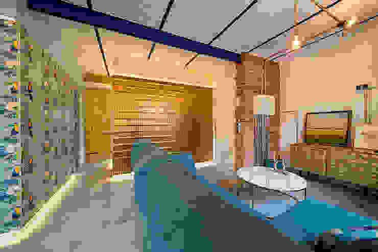 OOIIO Arquitectura Salon moderne Céramique Bleu