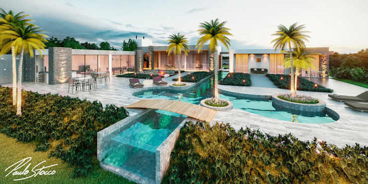 Casa com Piscina - Vista posterior de lazer por Paulo Stocco Arquiteto