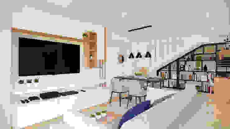 Diseño y decoración Zona de T.V y Comedor. Salas modernas de DIKTURE Arquitectura + Diseño Interior Moderno Madera Acabado en madera