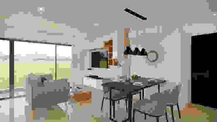 Diseño y decoración Zona de T.V. y Comedor. Comedores de estilo moderno de DIKTURE Arquitectura + Diseño Interior Moderno Madera Acabado en madera