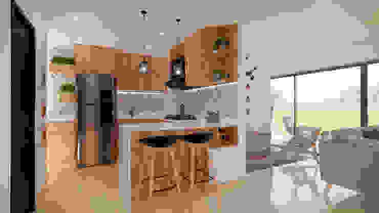 Diseño Mobiliario y decoración Cocina. de DIKTURE Arquitectura + Diseño Interior Moderno Madera Acabado en madera
