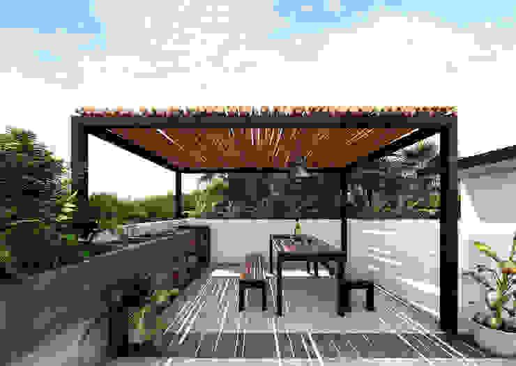 . Indigo Diseño y Arquitectura Balcones y terrazas tropicales Concreto Marrón