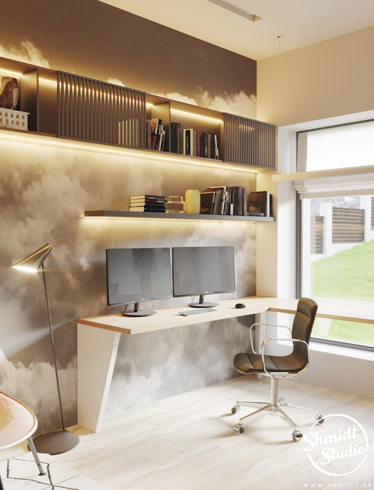 Project <q>Attractive</q>, Minsk Shmidt Studio Modern Study Room and Home Office