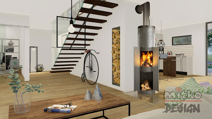 Projekt von Wohnzimmer - Moderne Villa 1 - Innenarchitektur Visualisierung Industriale Wohnzimmer von MITKO DESIGN Industrial