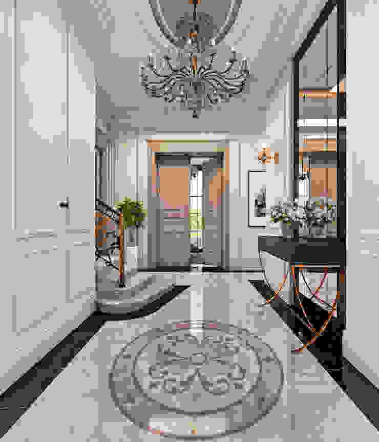 Zeray İnşaat A.Ş. Couloir, entrée, escaliers ruraux Blanc