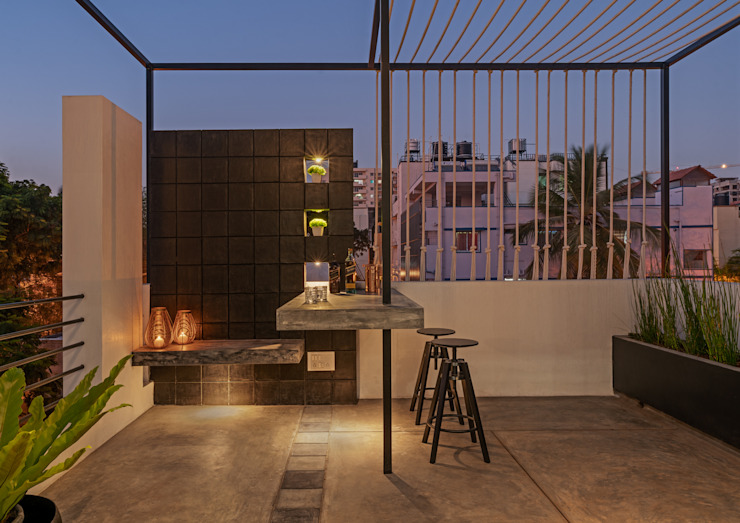 Home bar - Interior design of home bar on terrace Ashwin Architects In Bangalore Modern balcony, veranda & terrace