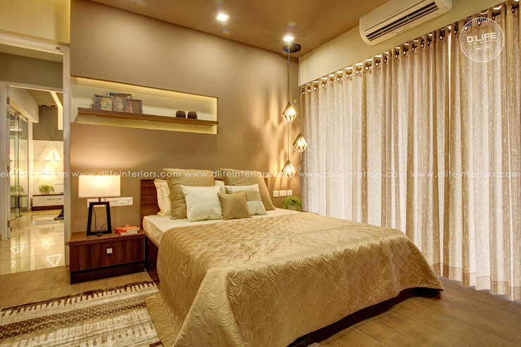 Bedroom Interiors with Golden Finish DLIFE Home Interiors Small bedroom