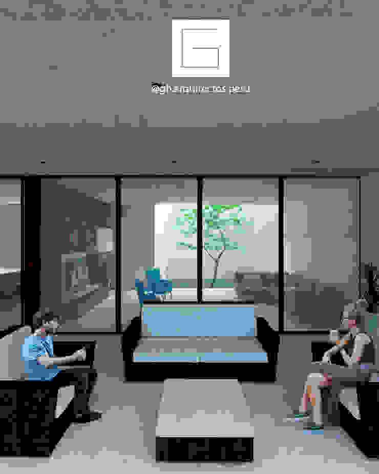 vista desde terraza GH Arquitectos Balcones y terrazas minimalistas Concreto