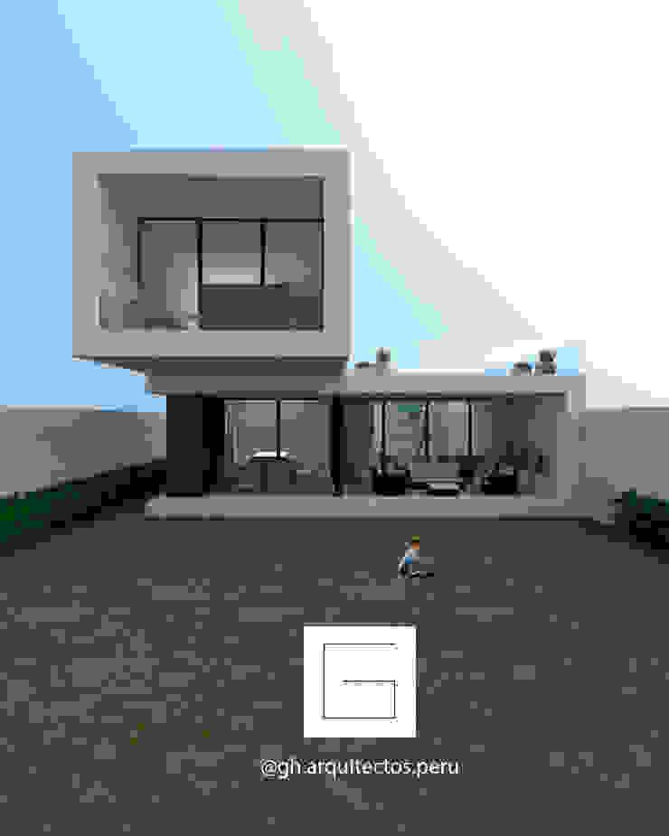 vista frontal de fachada GH Arquitectos Casas modernas: Ideas, diseños y decoración Concreto