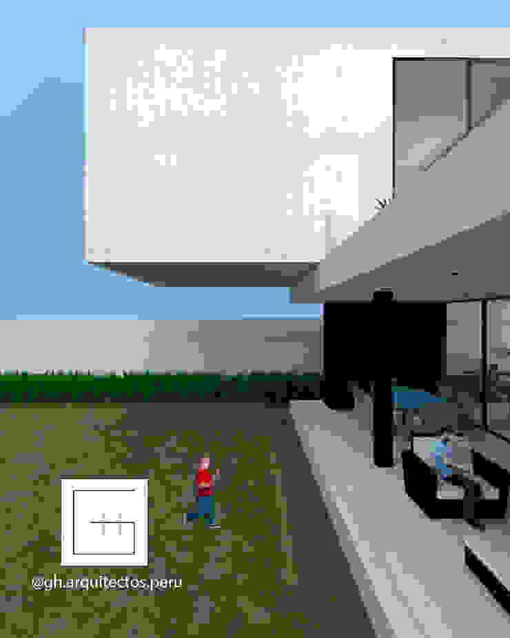vista lateral jardines GH Arquitectos Jardines en la fachada
