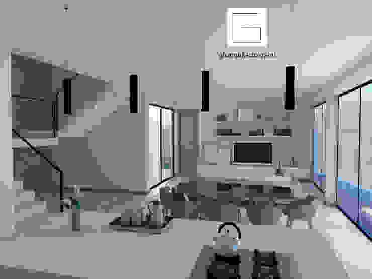 vista interior a zona social Salas modernas de GH Arquitectos Moderno