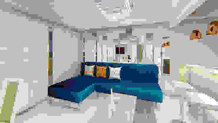 Remodelación de sala - comedor Salas modernas de RB ARQUITECTURA Moderno Azulejos