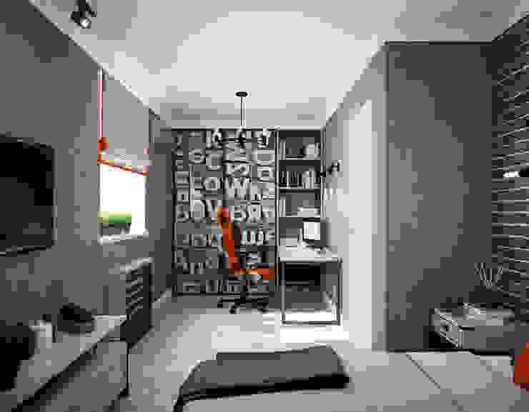 2 этаж. Комната подростка Дизайнер Ольга Крысова Детская комнатa в скандинавском стиле Серый