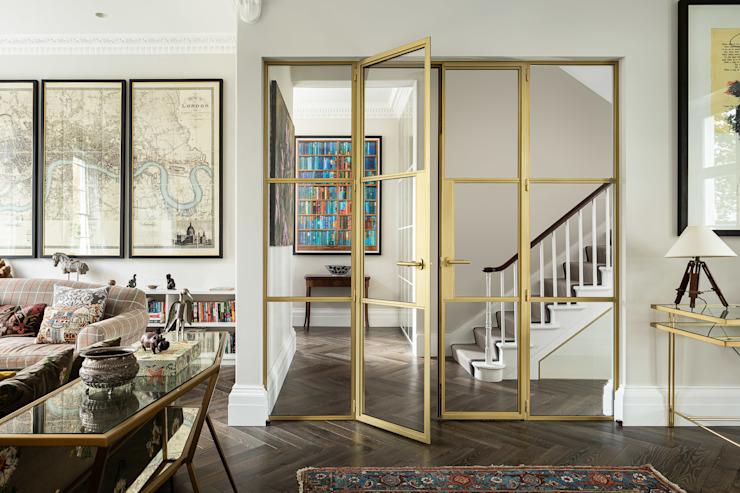 Crittall door in Gold EMR Architecture Eclectic style corridor, hallway & stairs