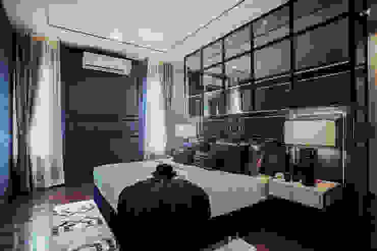 Blue and White bedroom show house The pavilla residence - hypestudio Hypestudio ห้องนอนขนาดเล็ก ไม้ Blue