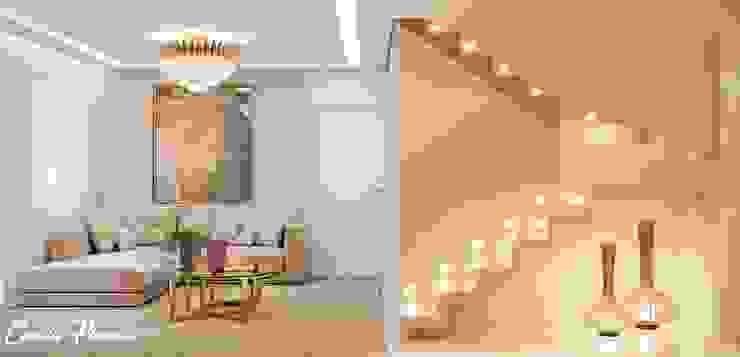 Living e escada por Camila Pimenta | Arquitetura + Interiores Moderno Mármore
