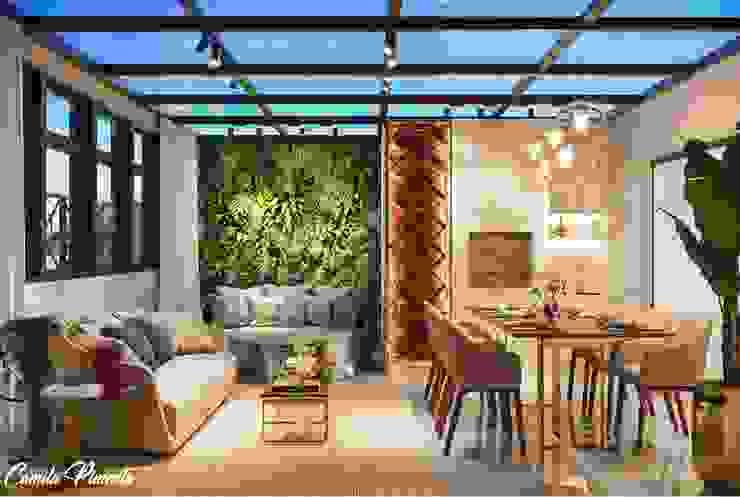 Cobertura Varandas, alpendres e terraços modernos por Camila Pimenta | Arquitetura + Interiores Moderno Madeira Efeito de madeira